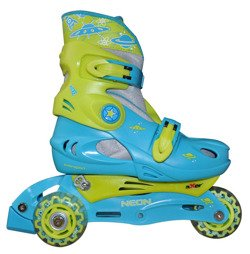 ADJUSTABLE 3 IN 1 TRI TO INLINE SKATES NEON