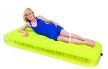 FLOCKED INFLATABLE SINGLE AIR BED MATTRESS  185cm x 76cm x 22cm