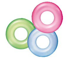 "INFLATABLE SWIM RING ""FROSTED NEON"" 91CM"