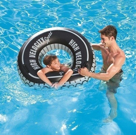 SWIM RING WITH HANDLES HIGH VELOCITY TIRE