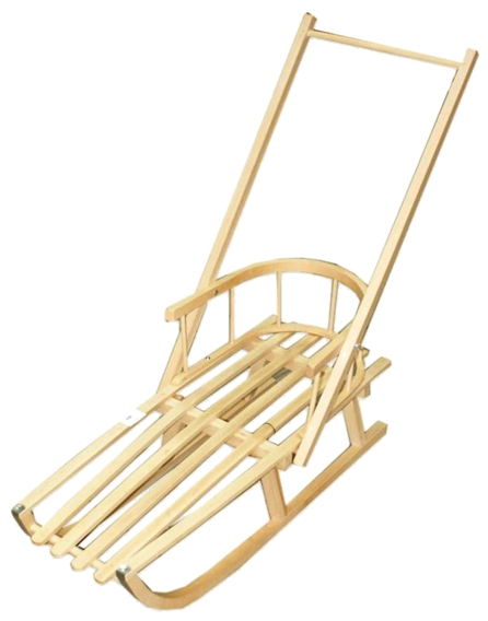 WOODEN SLEDGE WITH BACKREST AND WOODEN HANDLE